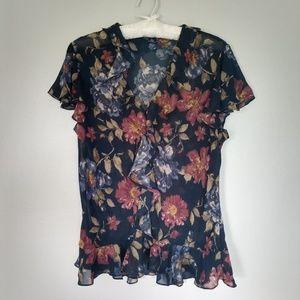 Chaps floral chiffon blouse size L